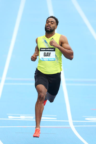 Tyson Gay wins the 100 meter final during the Adidas Grand Prix at Icahn Stadium.