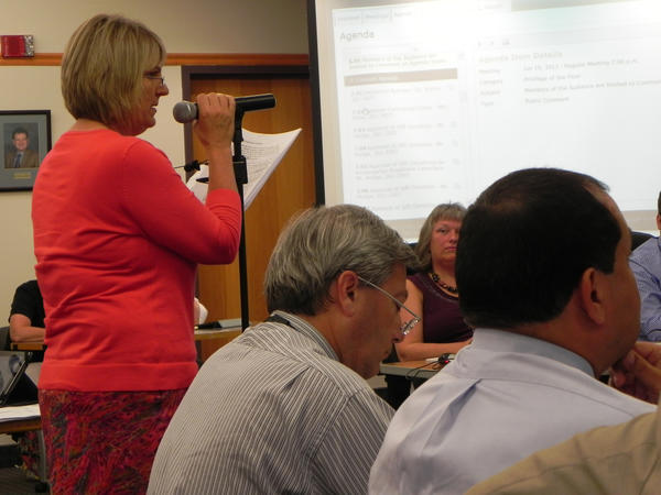 Cathy Dusman speaks Wednesday night during the Chambersburg Area School Board meeting in Chambersburg, Pa.