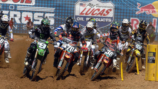 World's fastest motocross riders return to Southern Maryland's Budds Creek for Red Bull Budds Creek National. This is the holeshot in the 250 Class. Photo courtesy of MX Sports Pro Racing