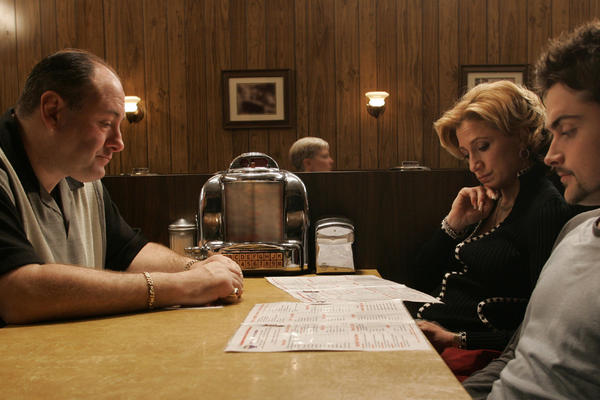 James Gandolfini (Tony Soprano), Edie Falco (Carmela) and Robert Iler (Anthony Jr.) are seen in the show's finale.