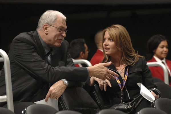 """I'm just supporting Jeanie in the decisions that are important for the ballclub to make, whatever that is,"" former Lakers coach Phil Jackson says of his fiancee, Jeanie Buss."