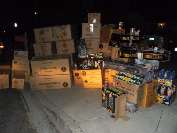 Illegal fireworks seized by Los Angeles County sheriff's deputies from a residential garage in the San Gabriel Valley.
