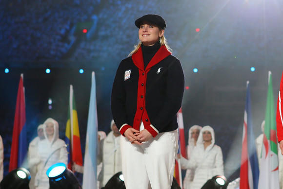 Four-time Olympic hockey medalist Angela Ruggiero formally being named an IOC member at the closing ceremony in Vancouve