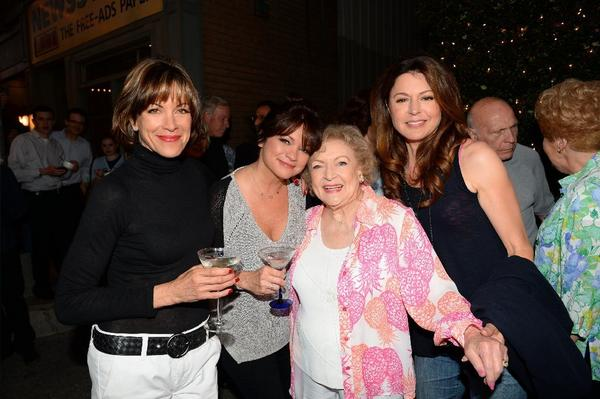 """""""Hot in Cleveland"""" actresses Wendie Malick, left, Valerie Bertinelli, Betty White and Jane Leeves at the live taping."""