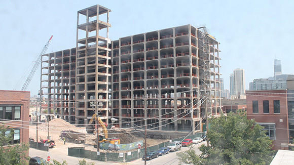 A view of 1000 W. Fulton from a live feed tracking construction progress on Thursday, June 20.