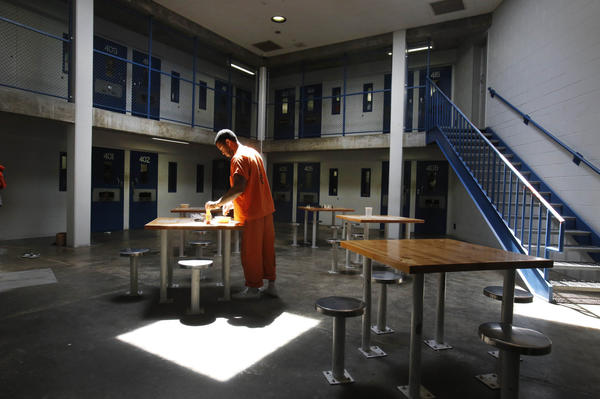 An inmate in a recreation room at Sacramento County's Rio Cosumnes Correctional Center in Elk Grove.