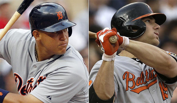 Detroit's Miguel Cabrera, left, and Baltimore's Chris Davis are the top two statistical leaders in all three American League triple crown categories.