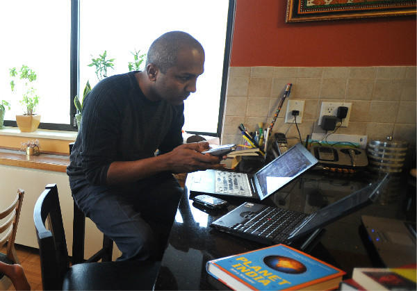 Sree Sreenivasan, at his New York home in 2008.