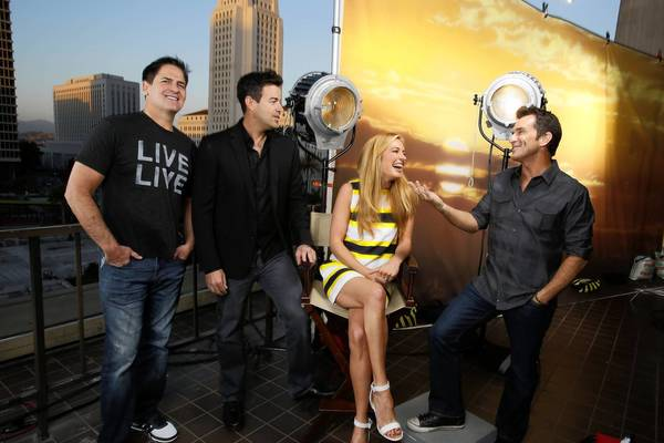 Reality TV hosts Mark Cuban, left, Cat Deely, Jeff Probst and Carson Daly.