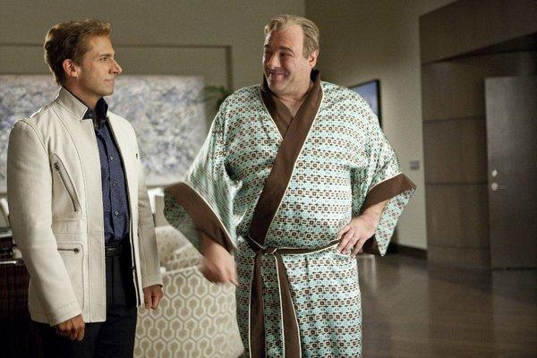"Steve Carell with a kimono-clad James Gandolfini in 2013's ""The Incredible Burt Wonderstone."" The late actor knew how to use his body to help disappear into his roles."