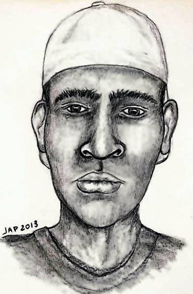 A sketch of the suspect in an Arlington Heights parking lot attack.