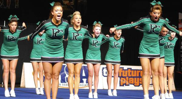 Providence Catholic&'s girls cheerleading team won a state championship in 2013.