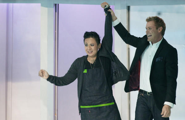 "Khristianne Uy, with her mentor Brian Malarkey, was crowned champion of Season 1 of ""The Taste."""