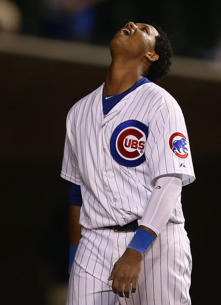 As his slump continues, Chicago Cubs' Starlin Castro reacts to flying out to center field in 7th inning against Cincinnati Reds on June 11.