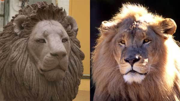 African lion Adelor, a longtime Lincoln Park Zoo resident that died in 2012, shown in life, right, and in bronze at the zoo entrance.