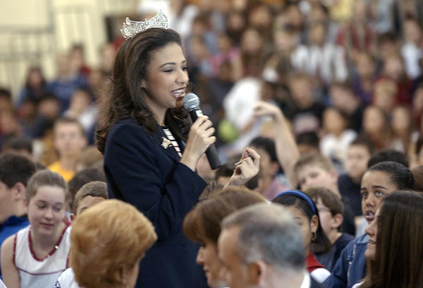 While reigning Miss America in 2003, Erika Harold speaks at Margaret Made Jr. High School in Elk Grove Village about youth violence and bullying.