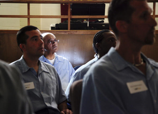 Inmates in the Last Mile program, an entrepreneurship course modeled on start-up incubators, at San Quentin State Prison prepare to present their startup ideas in San Quentin, California.