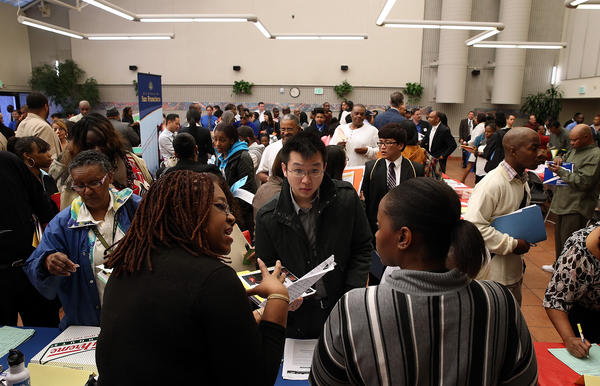 Job seekers attend a career fair hosted by the San Francisco Southeast Community Facility Commission.
