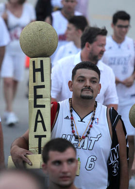 Miami Heat fan Nelson Gomez during game 7 of the NBA finals in Miami.