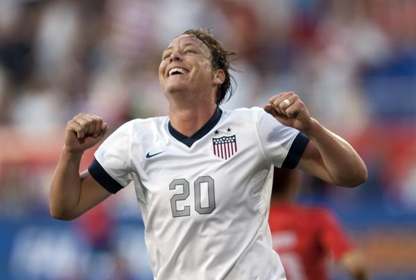 Abby Wambach of the United States reacts during her match against South Korea. Wambach went on to score four goal's breaking the record for international competition.