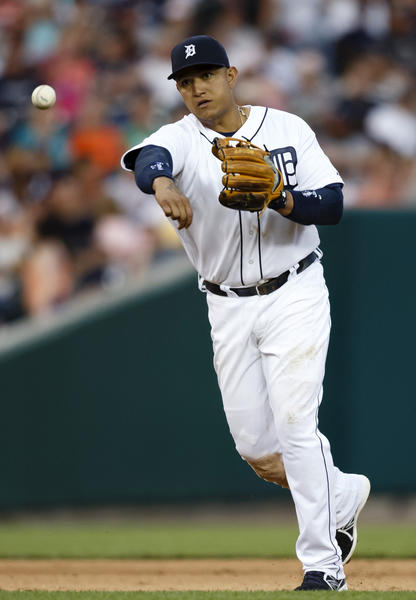 Tigers third baseman Miguel Cabrera makes a throw to first for an out in the sixth inning at Comerica Park.