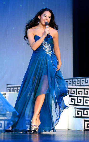 Miss Queen State, Audreanna Colombo of Hagerstown, introduces herself to the audience during the second night of preliminary rounds at the Miss Maryland Pageant at The Maryland Theatre Thursday night.