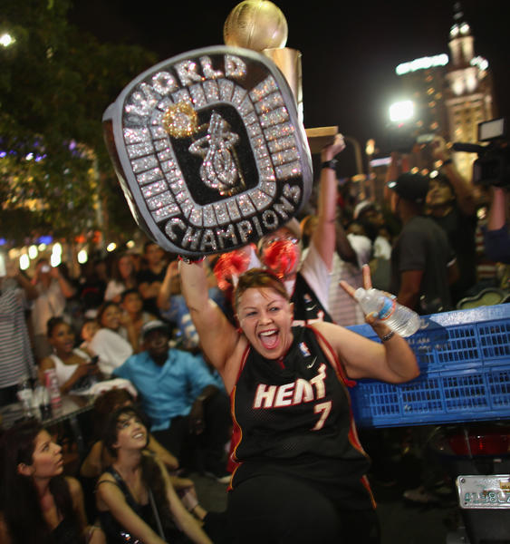 White Hot Heat Fans Game 7 - Miami Heat Fans Watch Final Game Of NBA Finals