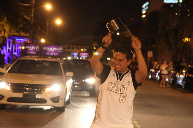 "June 20, 2013 ""305, that's why I got the pots and pans,"" Arman Pradhan, Miami celebrates the Heat MBA Finals victory on Broward Blvd in Downtown Ft. Lauderdale."