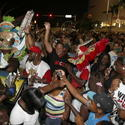Fans celebrate in the streets after the Miami Heat won the NBA title against the San Antonio Spurs on June 20, 2013 in Miami, Florida.
