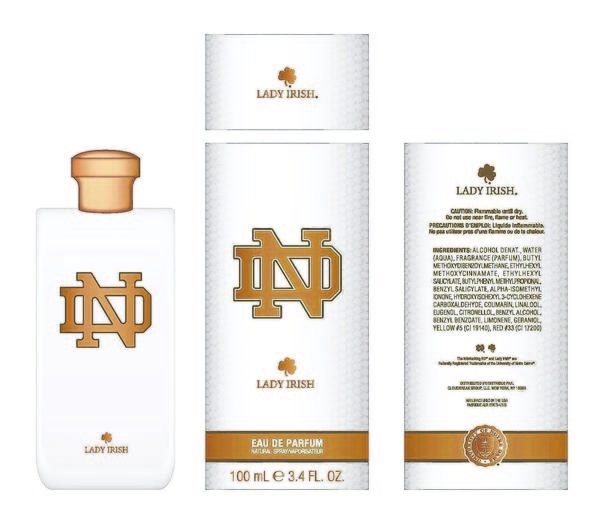 Images provided by the University of Notre Dame Lady Irish Eau De Parfum, a brand of lady's perfume, Notre Dame is planning to release in fall 2013.