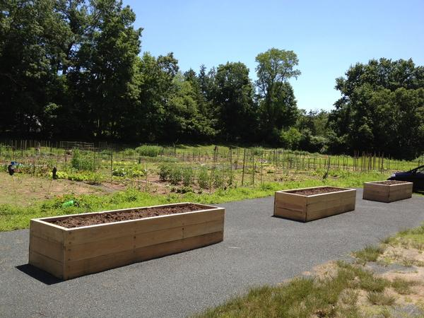 Raised beds at the Canton Community Garden were installed recently by the town with help from the Cherry Brook Garden Club.