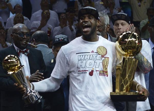 LeBron James celebrates his second straight NBA championship Thursday night.