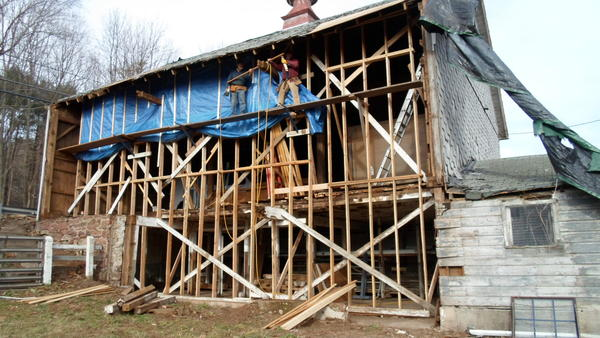 A view of emergency repairs done last year by the Avon Historical Society to the Horse Guard Barn. The society is seeking funds to complete the work.