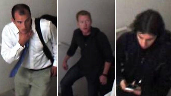 Surveillance photos of three men suspected of jumping from Trump Tower.