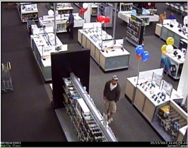 The suspect is seen here on a surveillance camera