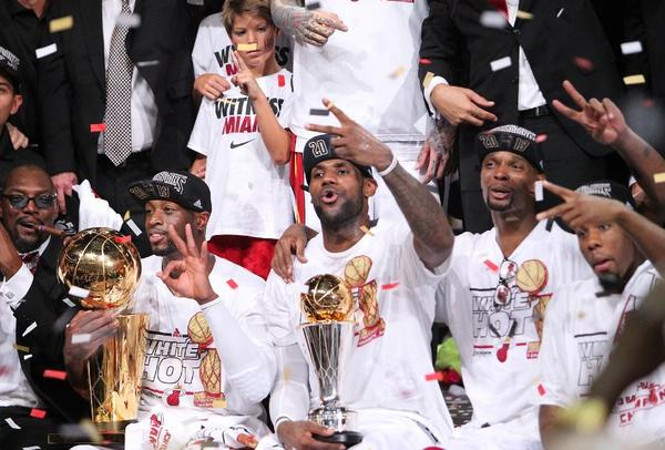 Miami Heat players Dwyane Wade, LeBron James and Chris Bosh led the team to victory over the San Antonio Spurs 95-88 in Game 7 the NBA Finals. The game drew high ratings on ABC.