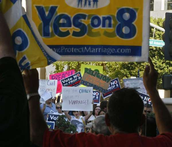 Opposing factions square off over Proposition 8 during the 2008 campaign.