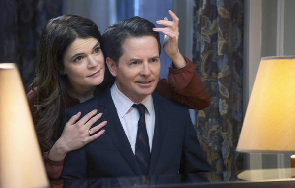 "Betsy Brandt and Michael J. Fox star in NBC's ""The Michael J. Fox Show."""