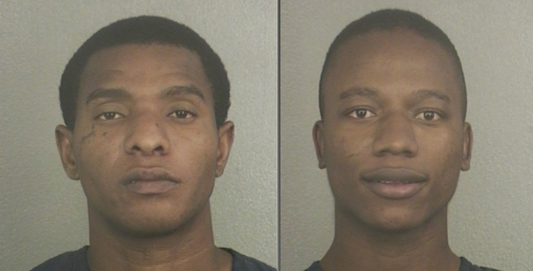 Walter Riasco (left) and Deiverson Caicedo-Angula were detained after they were found hiding in a cargo container at Port Everglades.