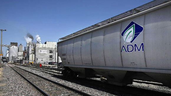 A rail car sits near the Archer Daniels Midland corn processing plant in Clinton, Iowa, in a 2007 file photo.