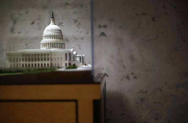A scaled model of the U.S.Capitol building is pictured in the Dirksen Senate building in Washington.
