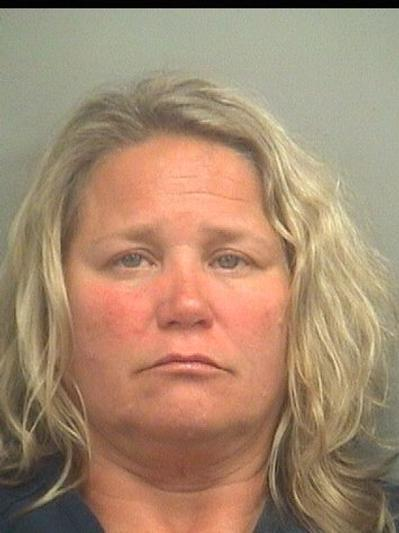 Sandra Elise Pryor, 48, of Palm Beach Gardens is accused of punching her neighbor in the face on Thursday in a dispute over property damage, according to an arrest report. Deputies say they discovered a bag of marijuana in her bra after searching her at Palm Beach County Jail.