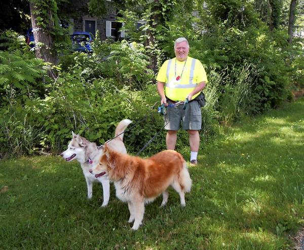 Bob Woodring of Cumberland County walks his huskies Isabella and Chloe at least three miles a day.