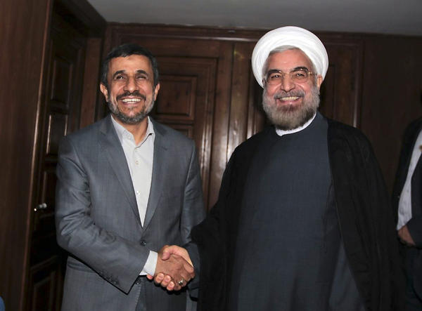Mahmoud Ahmadinejad and Hassan Rowhani