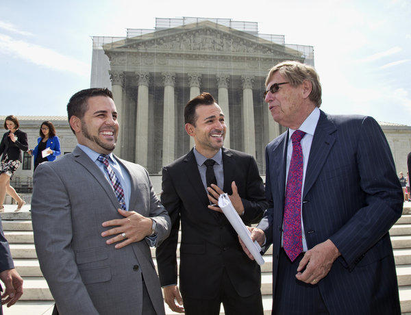 With only a few days remaining in the U.S. Supreme Court's term, several major cases are still outstanding that could have widespread political impact on same-sex marriage, voting rights and affirmative action. Above: Ted Olson, right, attorney for the Proposition 8 plaintiffs, Jeff Zarrillo, left, and Paul Katami, center, talk outside the court in Washington, D.C.