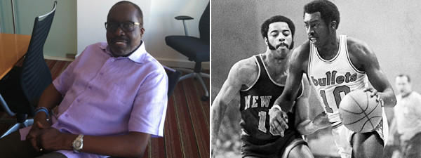 Earl Monroe pictured on Friday before his book signing on the left and on the right is Monroe from 1970 playing for the Bullets and going against the New York Knicks' Walt Frazier.