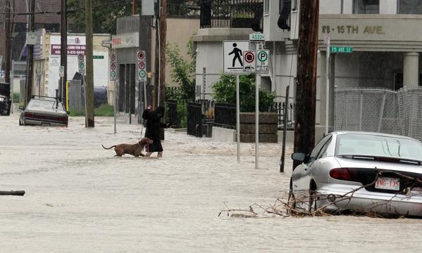 A woman walks her dog through rising waters and stranded cars in the evacuated downtown Calgary, Alberta, Canada, June 21, 2013. Flooding forced the evacuation of some 100,000 people in the western city of Calgary and nearby towns in the heart of the Canadian oil patch.