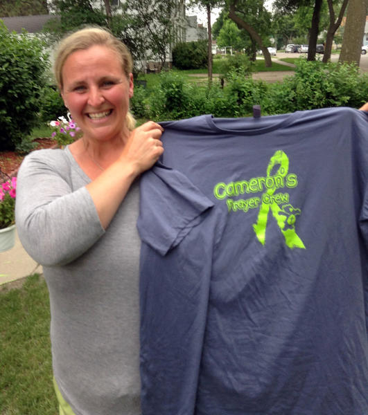 Jennifer Thomas had 75 T-shirts printed up in support of her goddaughter, Cameron Walter.