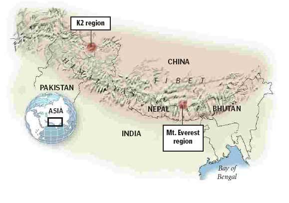 K2 Mountain Map Everest / K2 Reg...