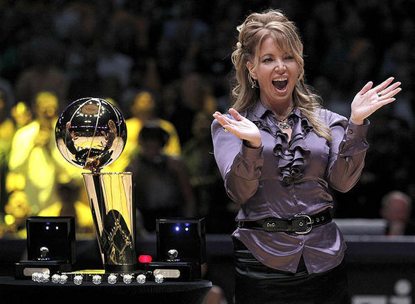 Lakers executive and owner Jeanie Buss says she believes the Lakers have an advantage over other teams because of their history of winning and the brain trust in the front office.